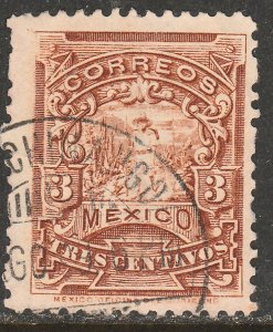 MEXICO 281 3cents MULITA UNWATERMARKED USED F-VF. (171)
