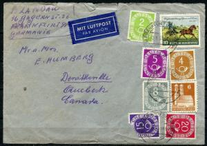 GERMANY  COMMERICIAL COVER INTERESTING FRANKING  POSTHORNS 2.1.53 TO CANADA