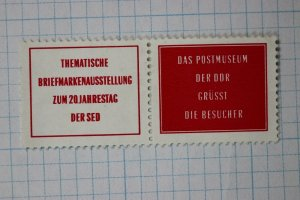 Topical stamp Exhibition German Philatelic Museum Poster ad Label pair charity?