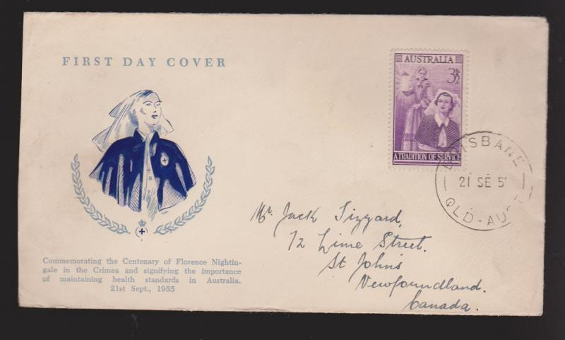 AUSTRALIA Scott # 284 On FDC Thermal Cachet Centerary Of Florence Nightingale