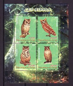 Congo, 2009 issue. Various Owls sheet of 4. ^