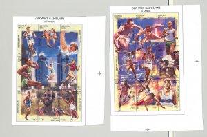 Uganda #1477-1478 Olympics Boxing 2v M/S of 9 Imperf Chromalin Proofs