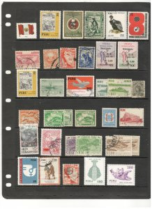 PERU COLLECTION ON STOCK SHEET, MINT/USED