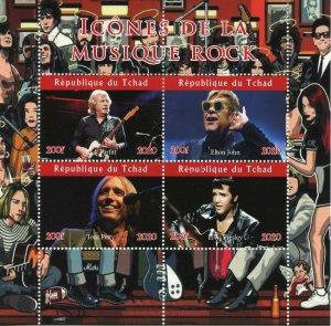 Chad Rock Music Stamps 2020 CTO Elton John Elvis Presley Tom Petty 4v M/S II