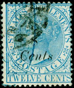 MALAYSIA - Straits Settlements SG74, 8c on 12 blue, FINE USED. Cat £150.