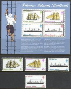 Pitcairn Islands Sc# 147-150a MNH 1975 Mailboats