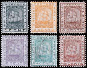 British Guiana Scott 72-73, 75, 77-79 (1876) Mint/Used H F-VF, CV $449.75 M