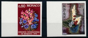 [I2178] Monaco 1977 Flowers good set of stamps pair very fine MNH imperf $30