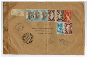 1944 Papeete Tahiti Dual Censored Oversize Registered Cover to USA