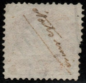 $US Sc#133 used, VF, 1869 reissue pre-print paperfold error! Cv. $550
