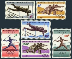 Congo DR 492-497,497a,MNH.Michel 169-174,Bl.5. Olympics Tokyo-1964:Pole Vault,