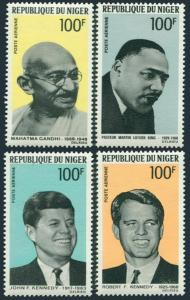 Niger C94-C97,C97a,MNH.Michel 200-203,Bl.6. Brothers Kennedy,Luther King,Gandhi.