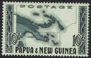 PAPUA NEW GUINEA 1952 MAP 10/- MNH **