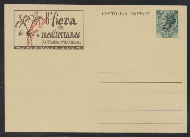 Italy Trieste 1953 20L AMG-FTT OVP Illustrated Postal Card with Red Rinviata OVP