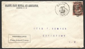 Doyle's_Stamps: Keene, NH, 1887 Postal History Mutual Aid Cover w/CDS