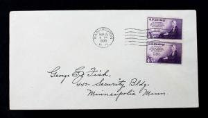 US Stamp SC# 754 Vertical Pair FDC 3¢ Mother's Day Imperf Special Printing 1935