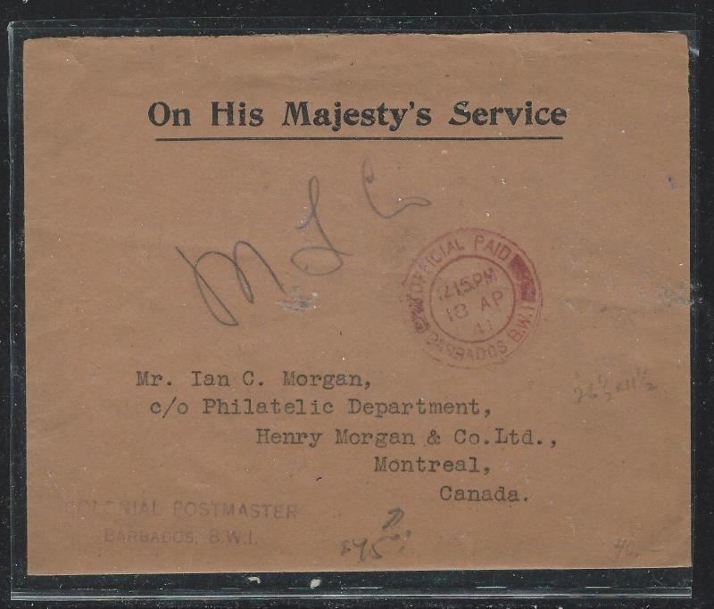 BARBADOS (PP2912B) 1941 OHMS OFFICIAL PAID TO CANADA