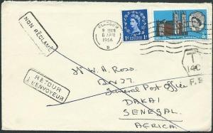 GB TO SENEGAL 1966 cover Returned to Sender. Dakar cds on reverse..........42727