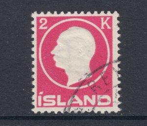 Iceland Sc 97 used. 1912 2k rose Frederik VIII, REYKJAVIK cancel, fresh, sound