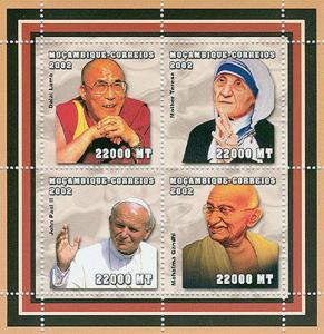 Mozambique - Pacifists, Pope JPII, Gandhi - 4 Stamps  Sheet - 1610