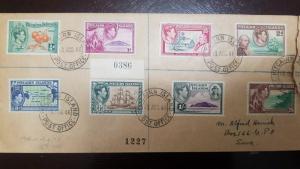 L) 1949 PITCAIRN ISLANDS, 3D, KING GEORGE VI, BLUE, MAP, BOAT, ORANGE, JOHN ADAM