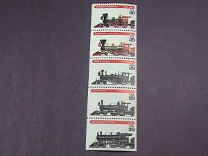 U.S.# 2843-2847(2847a)-MINT/NEVER HINGED--BOOKLET PANE OF 5--LOCOMOTIVES--1994