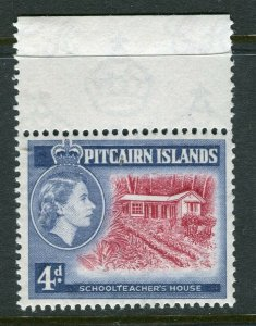 PITCAIRN ISLAND; 1957 early QEII issue fine Mint hinged 4d. value