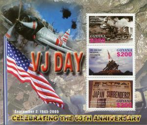 Guyana Military Stamps 2005 MNH WWII WW2 VJ Day Pearl Harbor Iwo Jima 3v M/S