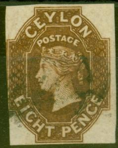 Ceylon 1859 8d Brown SG7 Fine & Fresh Used 4 Margins Scarce