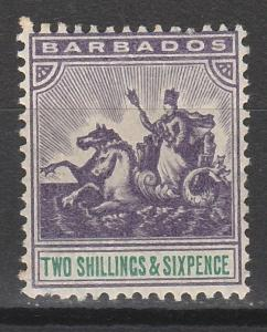 BARBADOS 1905 QV SEAHORSES 2/6 WMK MULTI CROWN CA