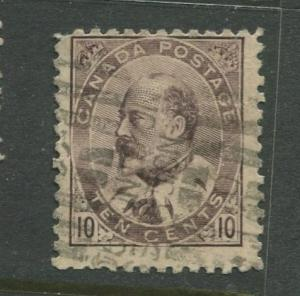 Canada - Scott 93 - KEVII Definitive Issue - 1903 - Used - Single 10c Stamp