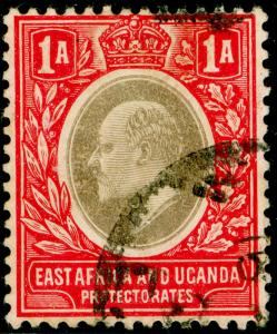 EAST AFRICA and UGANDA SG18, 1a grey & red, FINE USED. WMK MULT CA