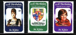 St. Kitts-Sc#96-8-unused NH set-Royal Baby-Princess Diana Birthday-Prince Willia