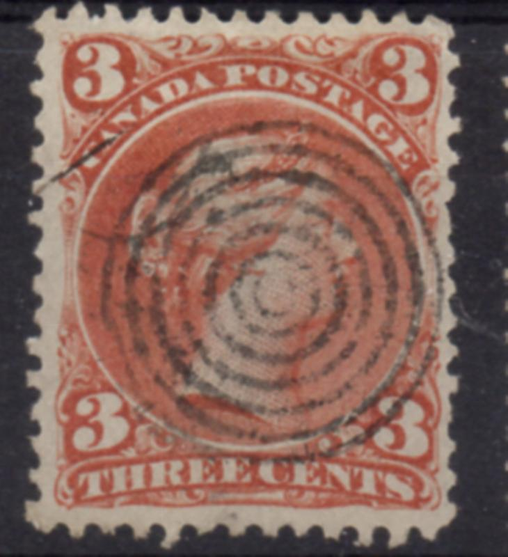Canada Sc 25 1868 3c red large Queen Victoria stamp used