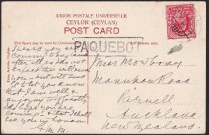 ADEN 1907 GB 1d on postcard to New Zealand, Aden cds and large PAQUEBOT....69266