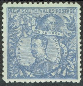 NEW SOUTH WALES 1890 CARRINGTON 20/- WMK 20/- NSW IN CIRCLE PERF 11 X 12