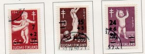 Finland Sc B91-93 1948 TB overprinted charity stamp set used