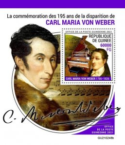 GUINEA - 2021 - Carl Maria von Weber- Perf Souv Sheet -Mint Never Hinged