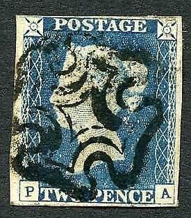 1840 2d Blue (PA) Plate 1 Four Margin (close top left)