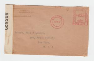 CEYLON - USA 1942 CENSOR (L/35) COVER, METERED 25c RATE (SEE BELOW)