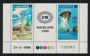 New Caledonia New Zealand 1990 Stamp Exhibition 2v Strip Date number SG#887-888