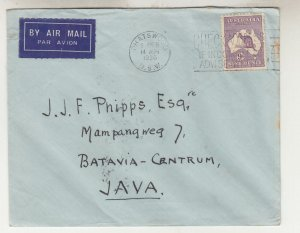 AUSTRALIA, 1936 Airmail cover, Chatswood, NSW to Neth. East Indies, 9d. Roo.