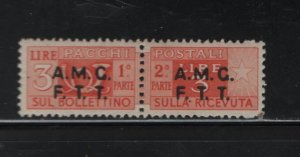 Trieste Q15 Hinged, 1949-54 Parcel Post Stamps of Italy