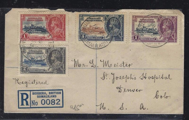 SOMALILAND COVER (P0312B)  KGV SILVER JUBILEE SET ON REG COVER TO USA