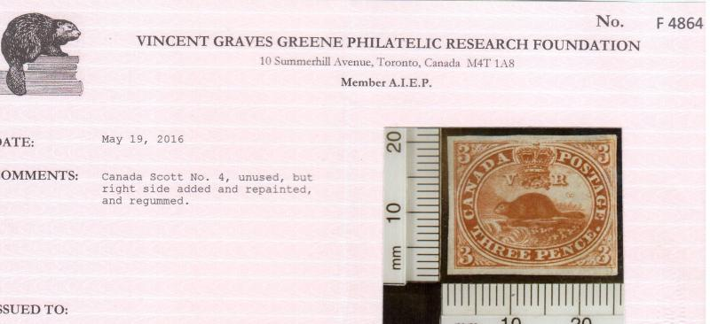 Canada #4 Mint **With Certificate**