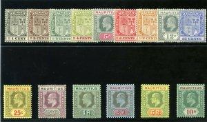 Mauritius 1910 KEVII set complete MLH. SG 181-195. Sc 137-151.