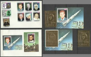 X1415 IMPERF,PERF YEMEN GOLD SPACE KENNEDY AIRMAIL !!! 2 ENVELOPES+2BL+2ST MNH