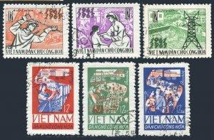 Viet Nam 375-380,CTO.Mi.394-396,420-422. Completion of 1st Five-Year Plan, 1965.