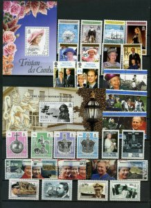 TRISTAN DA CUNHA 1990-2000 ROYALTY SMALL COLLECTION SET OF 31 STAMPS & 2 S/S MNH