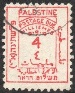 PALESTINE-1923 4M Scarlet Postage Due Sg D3 FINE USED V42870